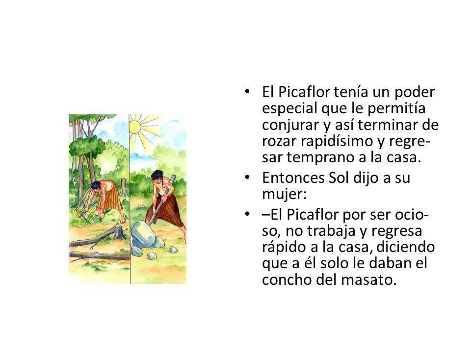 El Picaflor tenía un poder especial que le permitía conjurar y así terminar de rozar rapidísimo y regre- sar temprano a la casa.