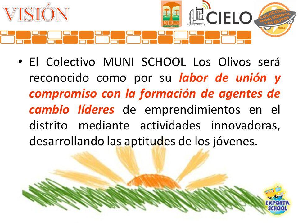 El Colectivo MUNI SCHOOL Los Olivos será reconocido como por su labor de unión y compromiso con la formación de agentes de cambio líderes de emprendimientos en el distrito mediante actividades innovadoras, desarrollando las aptitudes de los jóvenes.