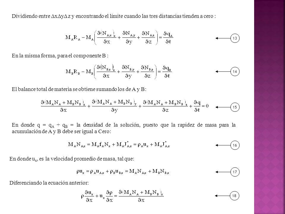 Dividiendo entre ΔxΔyΔ z y encontrando el límite cuando las tres distancias tienden a cero : En la misma forma, para el componente B : El balance total de materia se obtiene sumando los de A y B: En donde q = q A + q B = la densidad de la solución, puesto que la rapidez de masa para la acumulación de A y B debe ser igual a Cero: 131415 En donde u x, es la velocidad promedio de masa, tal que: Diferenciando la ecuación anterior: 161718