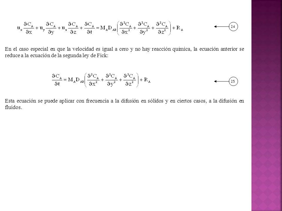 En el caso especial en que la velocidad es igual a cero y no hay reacción química, la ecuación anterior se reduce a la ecuación de la segunda ley de Fick: Esta ecuación se puede aplicar con frecuencia a la difusión en sólidos y en ciertos casos, a la difusión en fluidos.