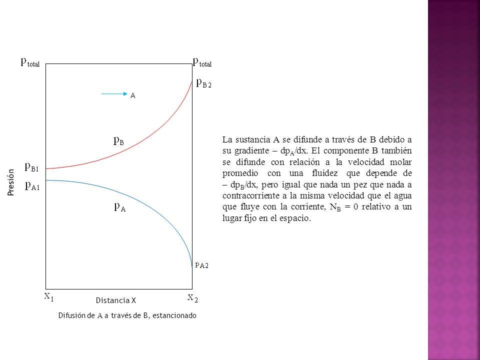 Distancia X Difusión de A a través de B, estancionado A La sustancia A se difunde a través de B debido a su gradiente – dp A /dx.