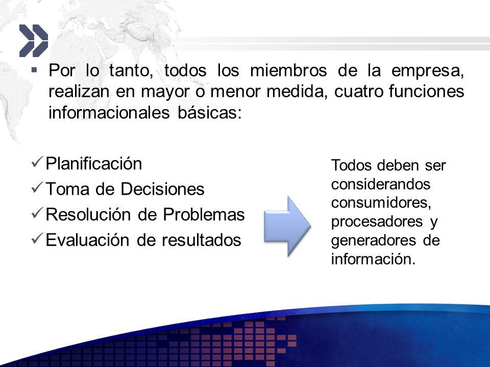 Por lo tanto, todos los miembros de la empresa, realizan en mayor o menor medida, cuatro funciones informacionales básicas: Planificación Toma de Deci