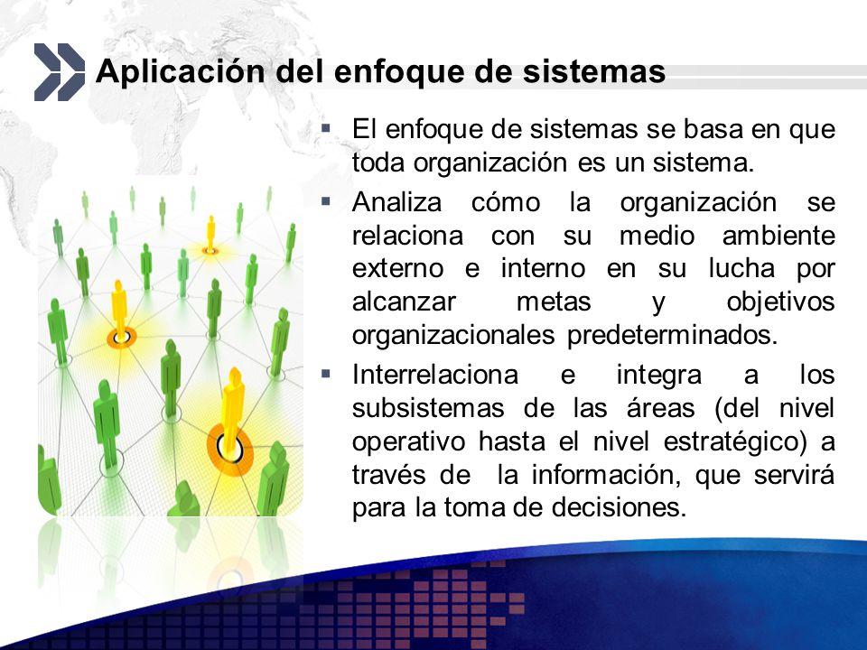 Aplicación del enfoque de sistemas El enfoque de sistemas se basa en que toda organización es un sistema. Analiza cómo la organización se relaciona co
