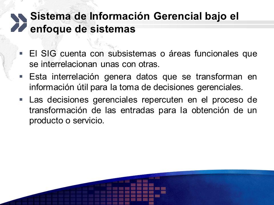 Sistema de Información Gerencial bajo el enfoque de sistemas El SIG cuenta con subsistemas o áreas funcionales que se interrelacionan unas con otras.