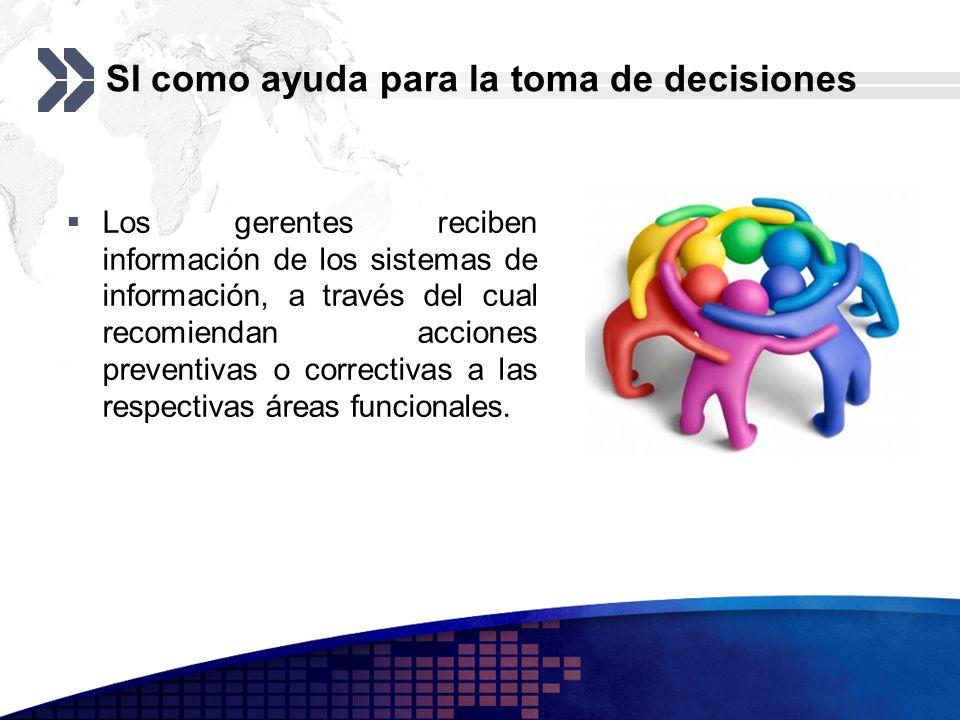 SI como ayuda para la toma de decisiones Los gerentes reciben información de los sistemas de información, a través del cual recomiendan acciones preve