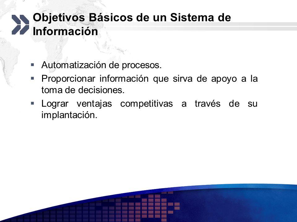 Objetivos Básicos de un Sistema de Información Automatización de procesos. Proporcionar información que sirva de apoyo a la toma de decisiones. Lograr