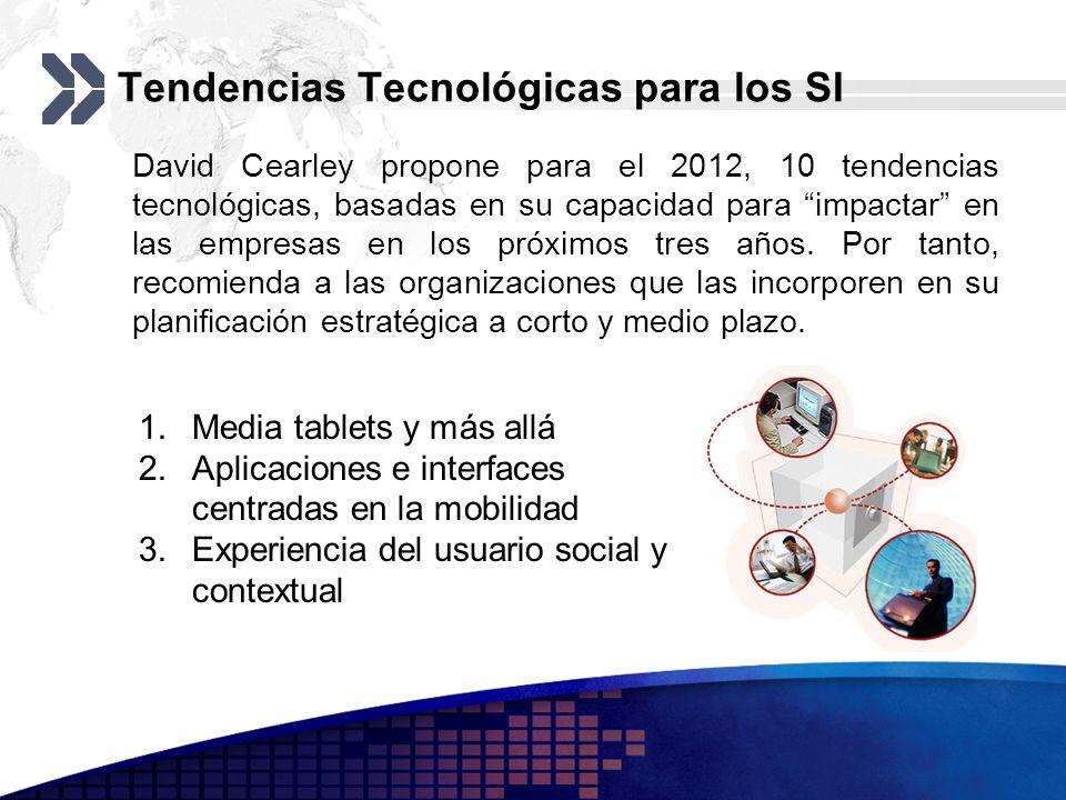 Tendencias Tecnológicas para los SI David Cearley propone para el 2012, 10 tendencias tecnológicas, basadas en su capacidad para impactar en las empre