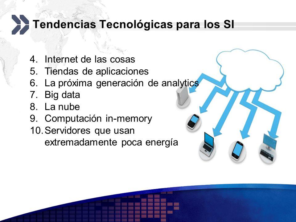 Tendencias Tecnológicas para los SI 4.Internet de las cosas 5.Tiendas de aplicaciones 6.La próxima generación de analytics 7.Big data 8.La nube 9.Comp