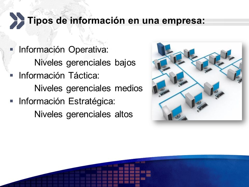 Tipos de información en una empresa: Información Operativa: Niveles gerenciales bajos Información Táctica: Niveles gerenciales medios Información Estr