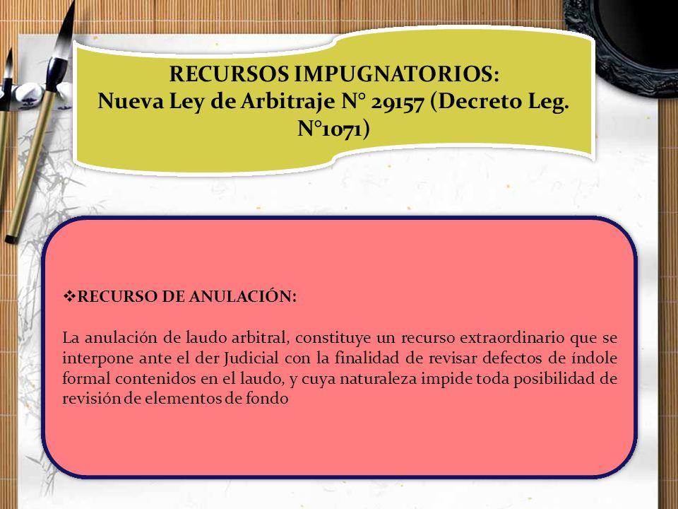 RECURSOS IMPUGNATORIOS: Nueva Ley de Arbitraje N° 29157 (Decreto Leg. N°1071) RECURSOS IMPUGNATORIOS: Nueva Ley de Arbitraje N° 29157 (Decreto Leg. N°