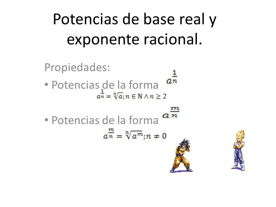 Potencias de base real y exponente racional. Propiedades: Potencias de la forma