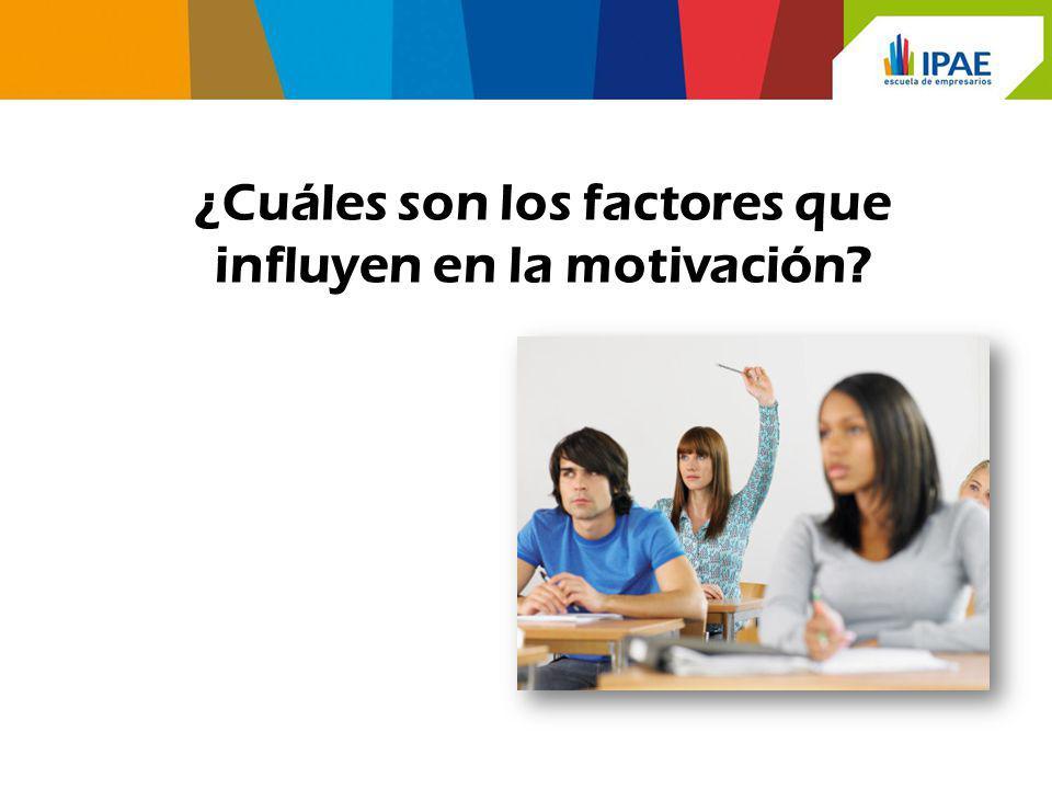 ¿Cuáles son los factores que influyen en la motivación?