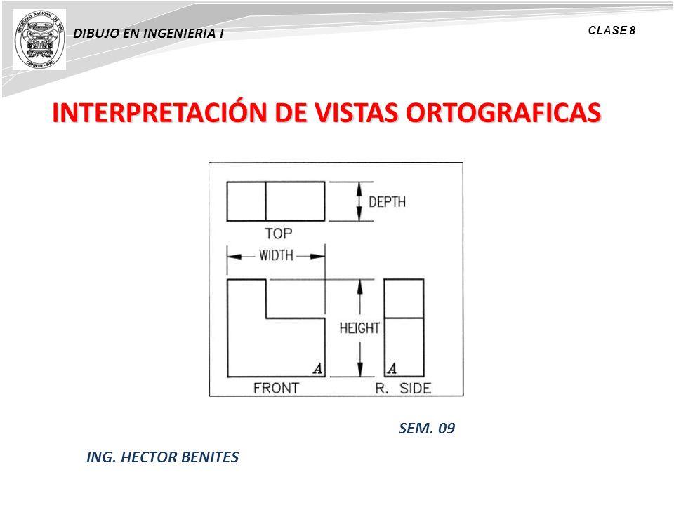 INTERPRETACIÓN DE VISTAS ORTOGRAFICAS DIBUJO EN INGENIERIA I CLASE 8 ING. HECTOR BENITES SEM. 09
