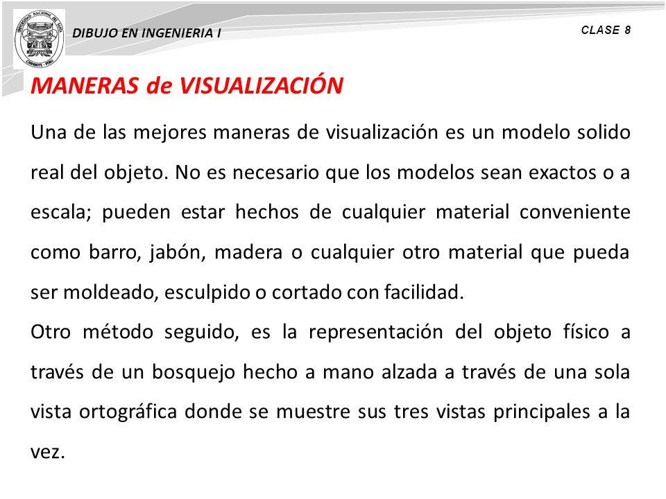 MANERAS de VISUALIZACIÓN DIBUJO EN INGENIERIA I CLASE 8 Una de las mejores maneras de visualización es un modelo solido real del objeto. No es necesar