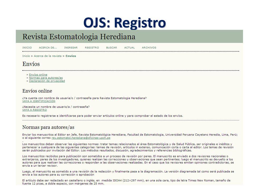 OJS: Registro
