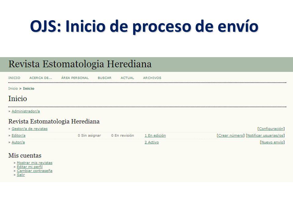 OJS: Inicio de proceso de envío