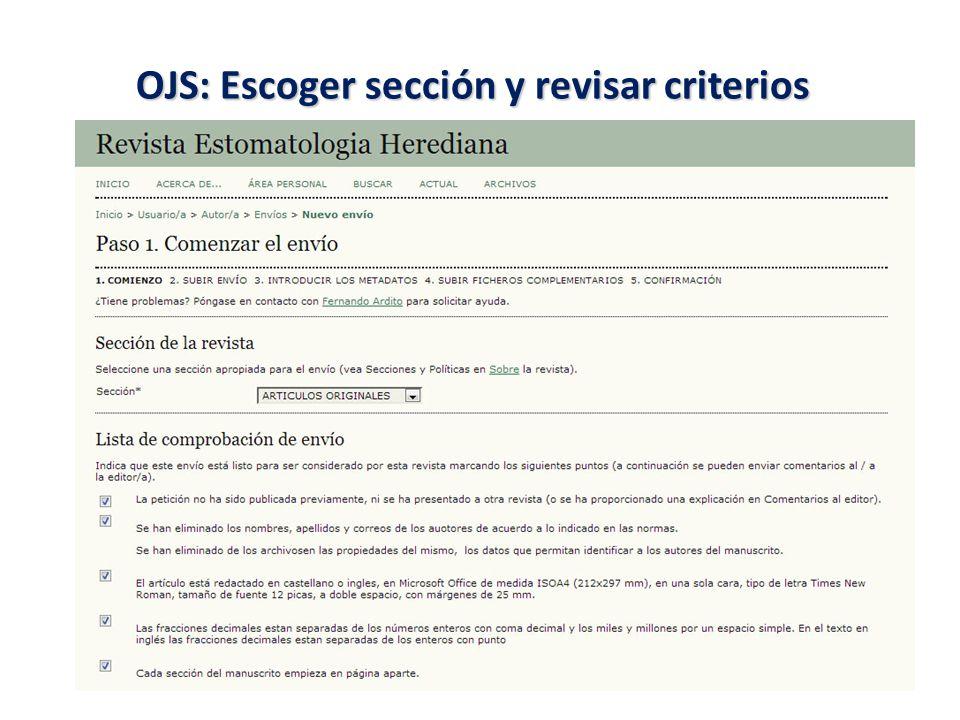 OJS: Escoger sección y revisar criterios