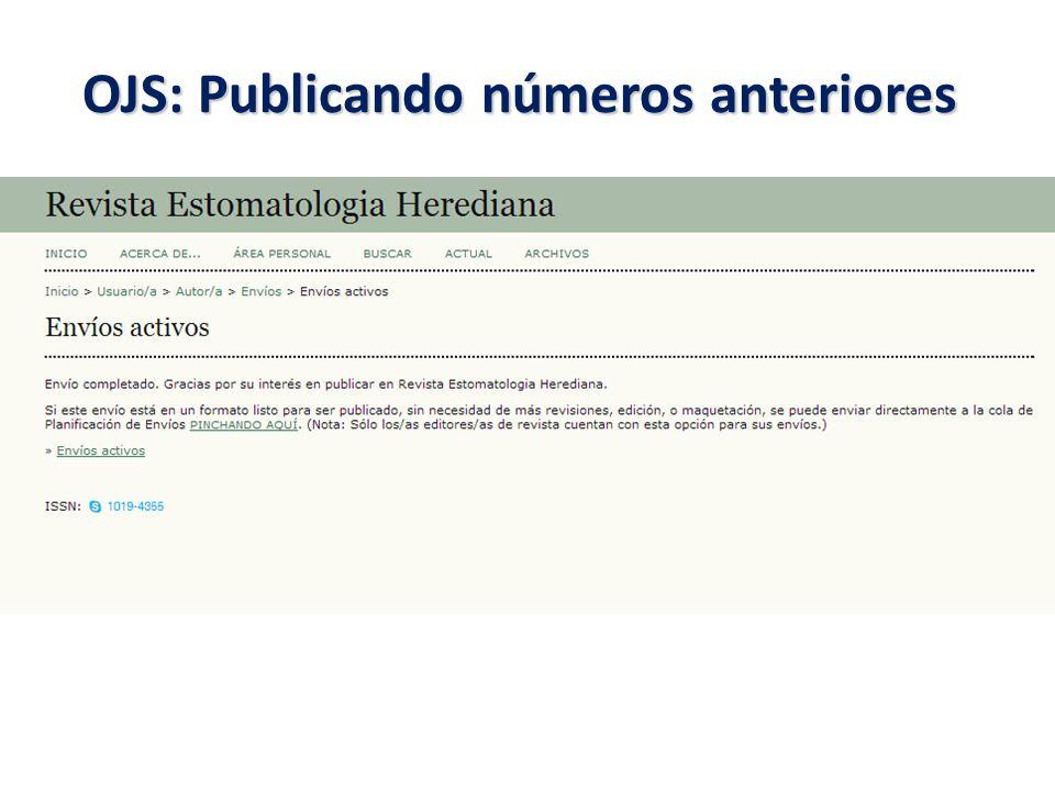 OJS: Publicando números anteriores