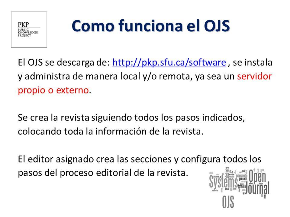 El OJS se descarga de: http://pkp.sfu.ca/software, se instalahttp://pkp.sfu.ca/software y administra de manera local y/o remota, ya sea un servidor pr