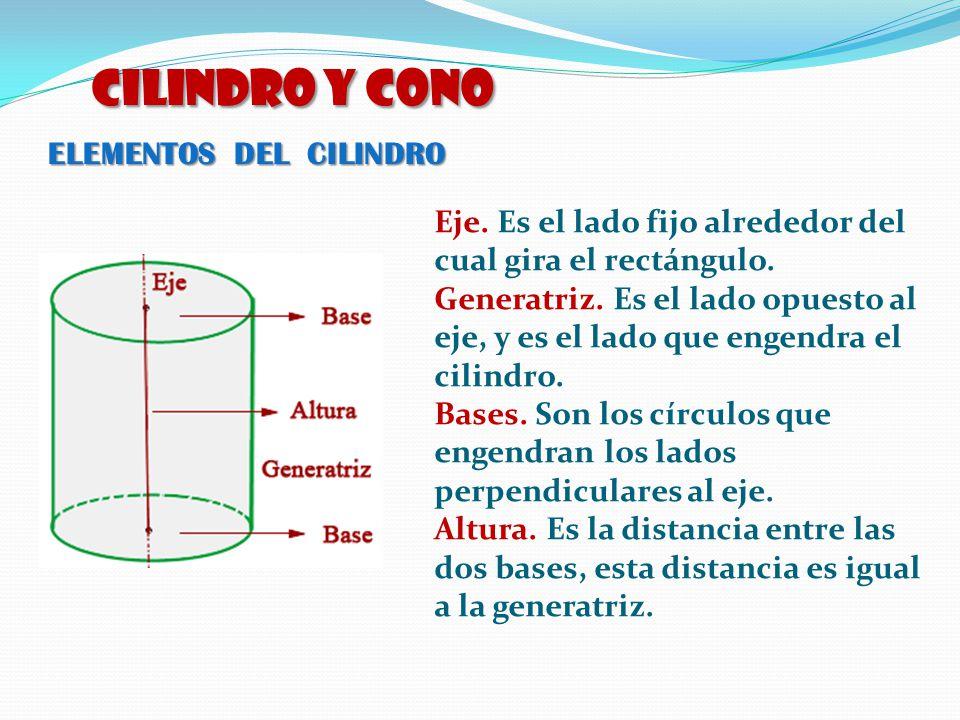 ELEMENTOS DEL CILINDRO CILINDRO y CONO Eje. Es el lado fijo alrededor del cual gira el rectángulo. Generatriz. Es el lado opuesto al eje, y es el lado