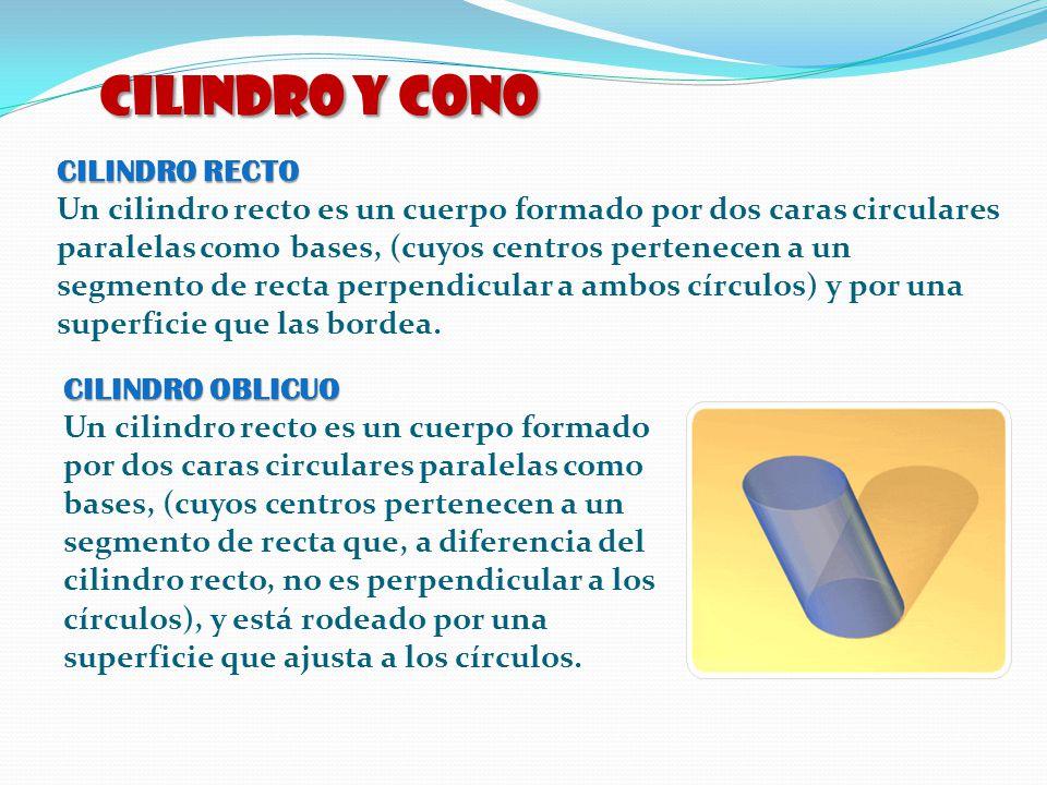 CILINDRO y CONO CILINDRO RECTO Un cilindro recto es un cuerpo formado por dos caras circulares paralelas como bases, (cuyos centros pertenecen a un se