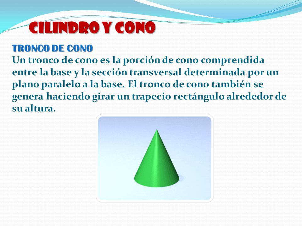 TRONCO DE CONO Un tronco de cono es la porción de cono comprendida entre la base y la sección transversal determinada por un plano paralelo a la base.
