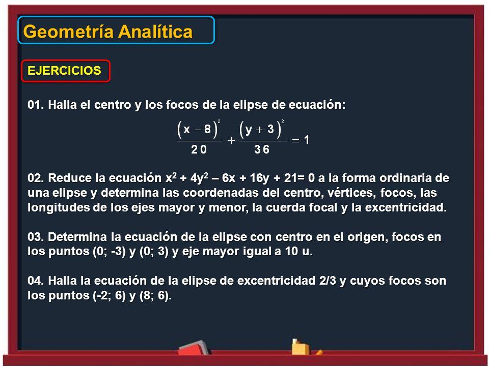 Geometría Analítica EJERCICIOS 01.Halla el centro y los focos de la elipse de ecuación: 02.