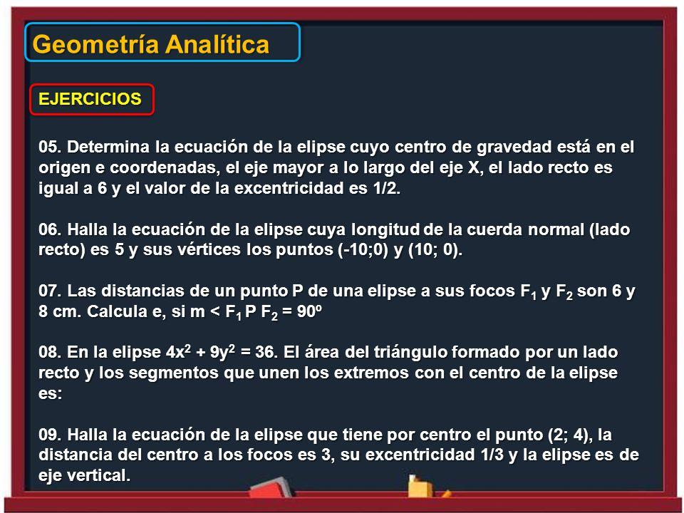 Geometría Analítica EJERCICIOS 05.