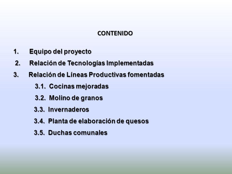 CONTENIDO 1. Equipo del proyecto 2. Relación de Tecnologías Implementadas 2. Relación de Tecnologías Implementadas 3. Relación de Líneas Productivas f