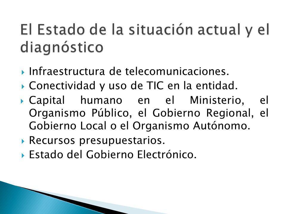 Infraestructura de telecomunicaciones. Conectividad y uso de TIC en la entidad. Capital humano en el Ministerio, el Organismo Público, el Gobierno Reg