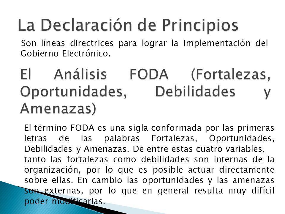 Son líneas directrices para lograr la implementación del Gobierno Electrónico. El término FODA es una sigla conformada por las primeras letras de las