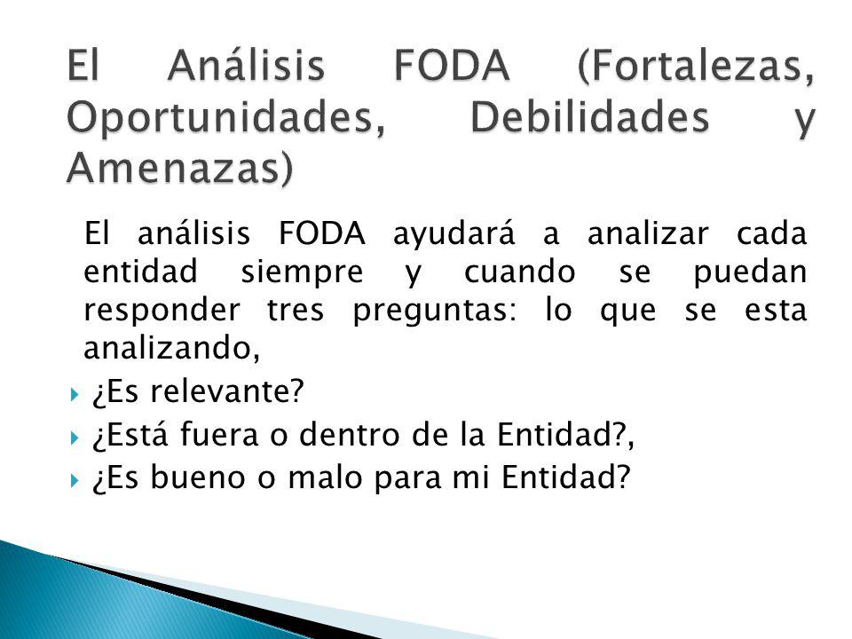 El análisis FODA ayudará a analizar cada entidad siempre y cuando se puedan responder tres preguntas: lo que se esta analizando, ¿Es relevante? ¿Está