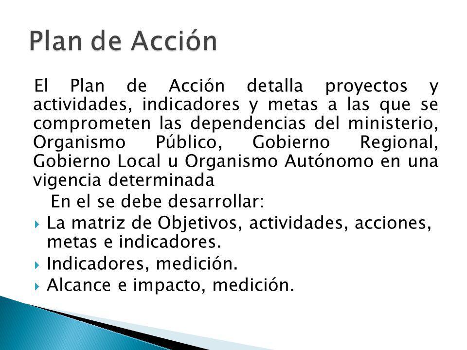 El Plan de Acción detalla proyectos y actividades, indicadores y metas a las que se comprometen las dependencias del ministerio, Organismo Público, Go