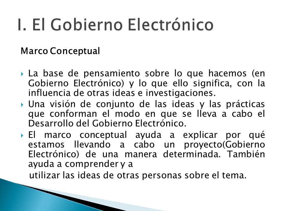 Marco Conceptual La base de pensamiento sobre lo que hacemos (en Gobierno Electrónico) y lo que ello significa, con la influencia de otras ideas e inv