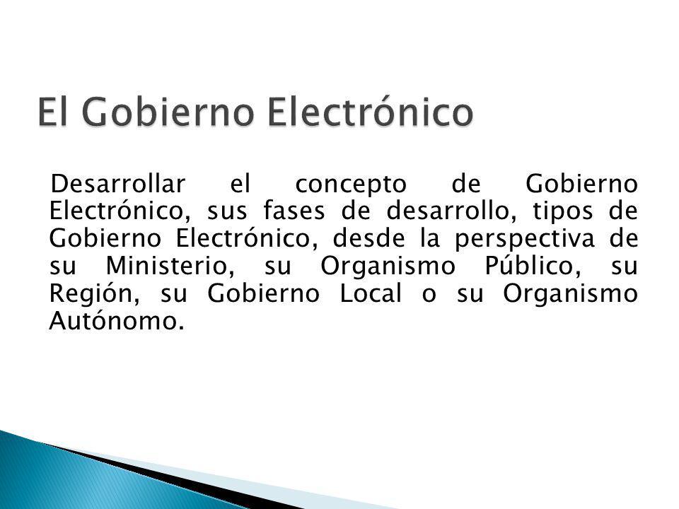 Desarrollar el concepto de Gobierno Electrónico, sus fases de desarrollo, tipos de Gobierno Electrónico, desde la perspectiva de su Ministerio, su Org