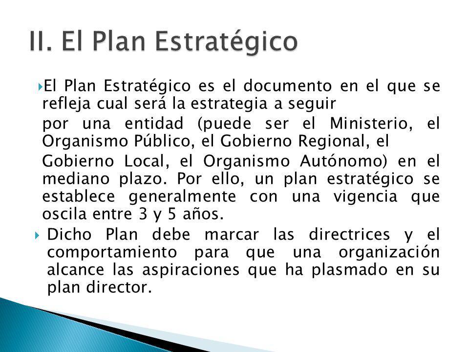 El Plan Estratégico es el documento en el que se refleja cual será la estrategia a seguir por una entidad (puede ser el Ministerio, el Organismo Públi