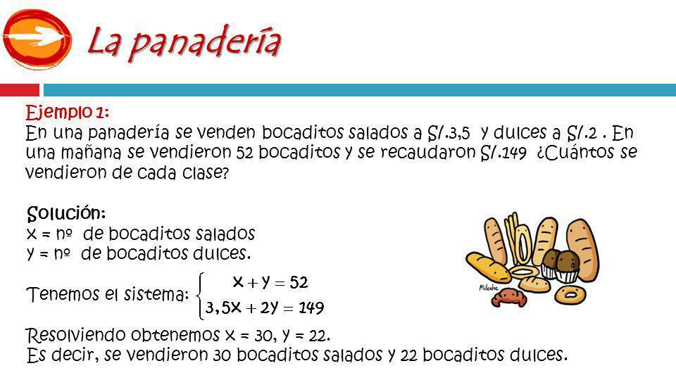 Ejemplo 1: En una panadería se venden bocaditos salados a S/.3,5 y dulces a S/.2.