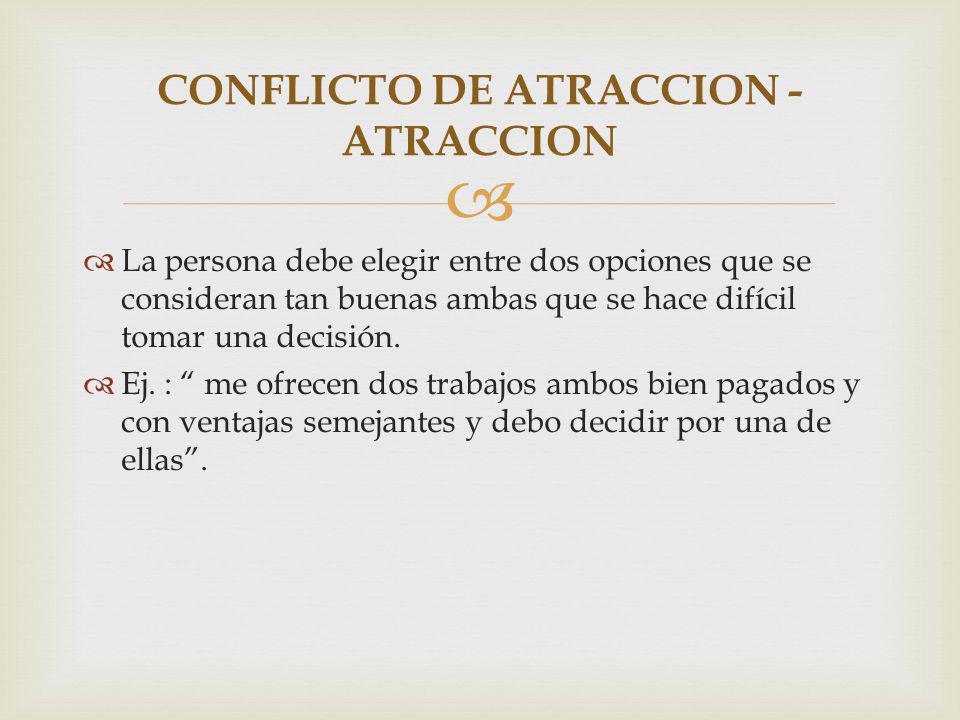 La persona debe elegir entre dos opciones que se consideran tan buenas ambas que se hace difícil tomar una decisión.