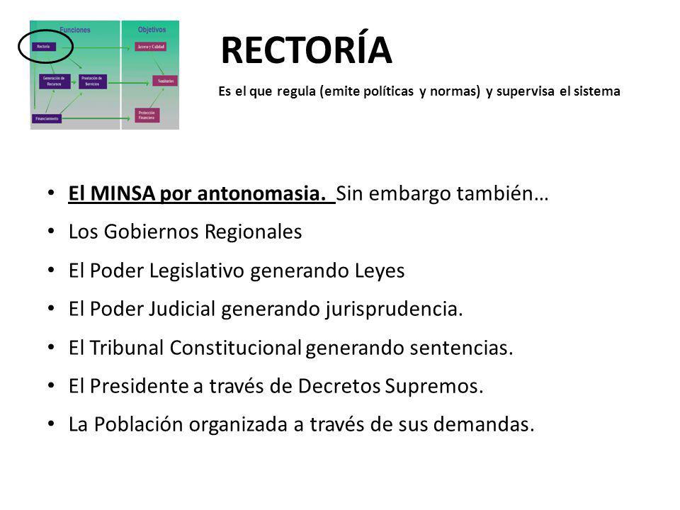 RECTORÍA Es el que regula (emite políticas y normas) y supervisa el sistema El MINSA por antonomasia. Sin embargo también… Los Gobiernos Regionales El