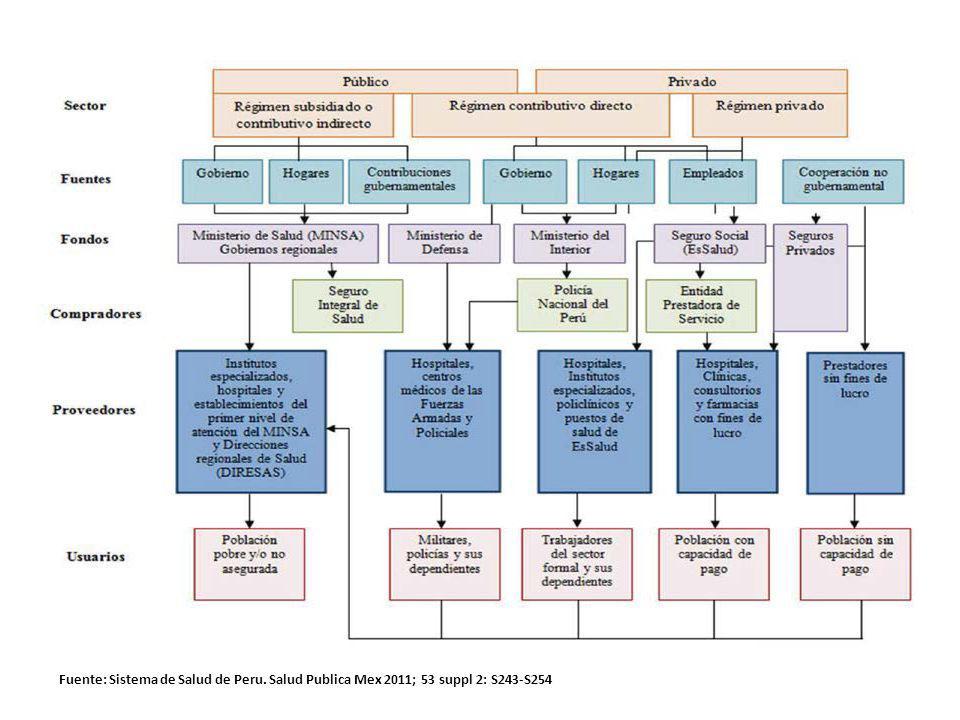 Fuente: Sistema de Salud de Peru. Salud Publica Mex 2011; 53 suppl 2: S243-S254
