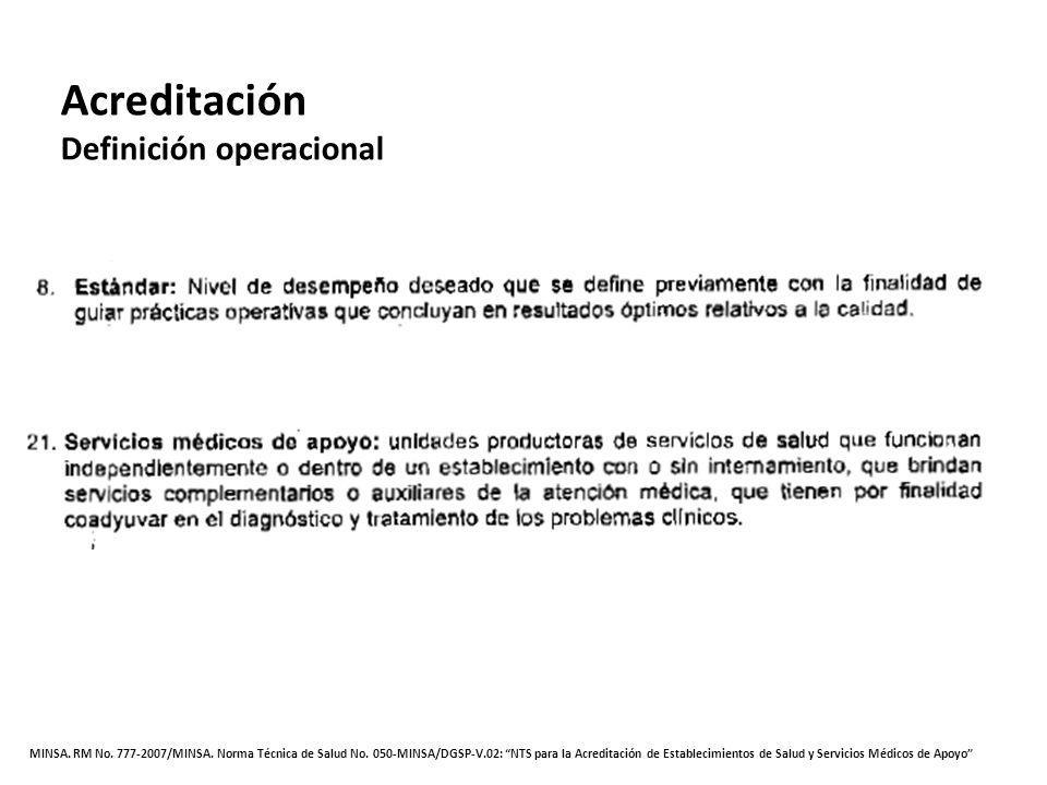 MINSA. RM No. 777-2007/MINSA. Norma Técnica de Salud No. 050-MINSA/DGSP-V.02: NTS para la Acreditación de Establecimientos de Salud y Servicios Médico