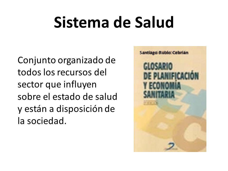 Sistema de Salud Conjunto organizado de todos los recursos del sector que influyen sobre el estado de salud y están a disposición de la sociedad. Sant