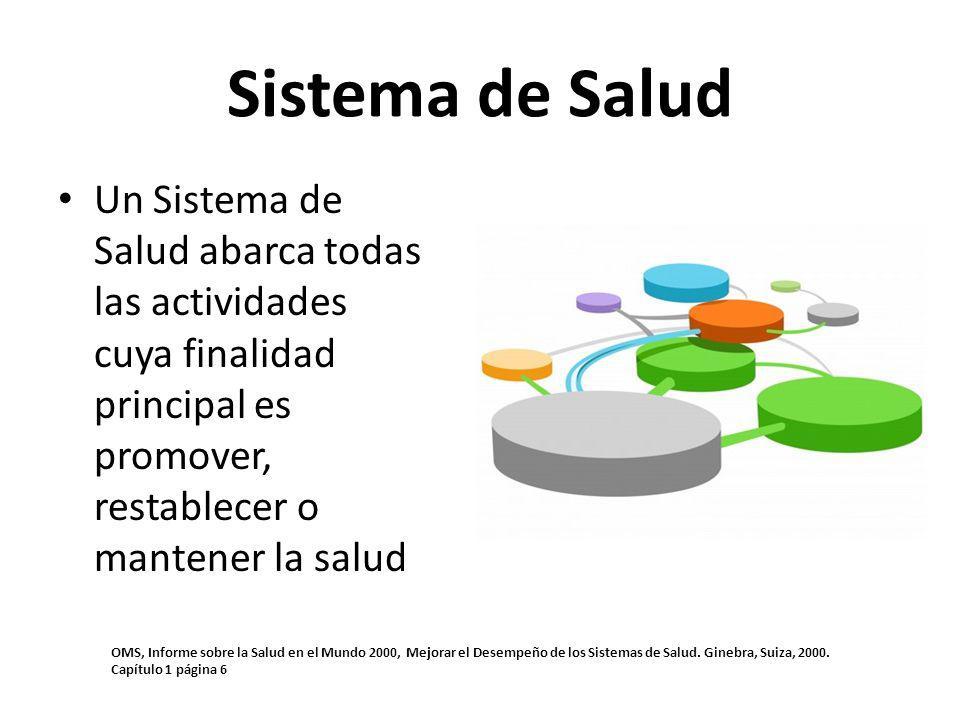 Un Sistema de Salud abarca todas las actividades cuya finalidad principal es promover, restablecer o mantener la salud Sistema de Salud OMS, Informe s