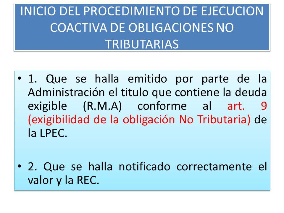 SUSPENSION DEL PROCEDIMIENTO DE EJECUCION COACTIVA PARA OBL. NO TRIBUTARIAS Y TRIBUTARIAS