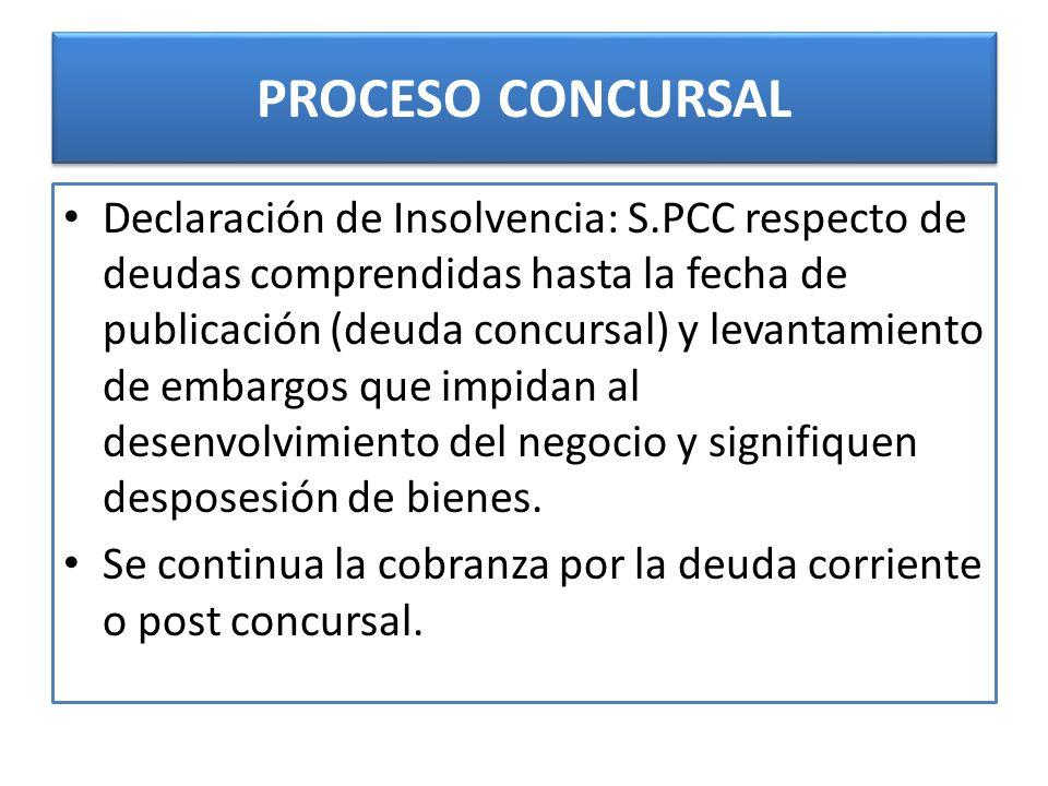 PROCESO CONCURSAL Declaración de Insolvencia: S.PCC respecto de deudas comprendidas hasta la fecha de publicación (deuda concursal) y levantamiento de embargos que impidan al desenvolvimiento del negocio y signifiquen desposesión de bienes.