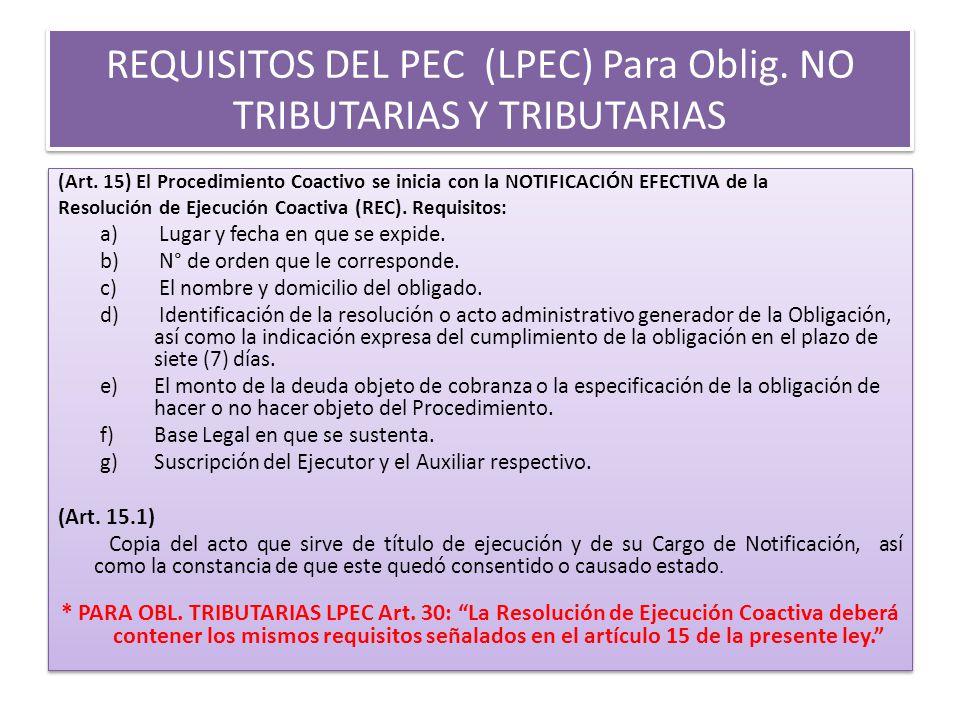 REQUISITOS DEL PEC (LPEC) Para Oblig.NO TRIBUTARIAS Y TRIBUTARIAS (Art.