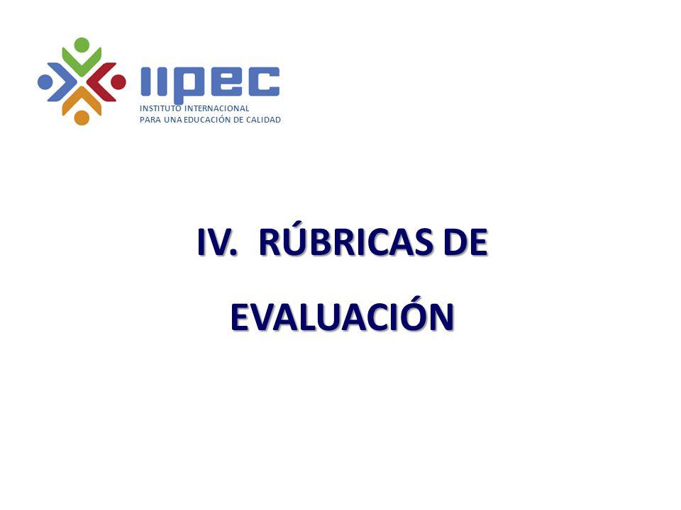 IV. RÚBRICAS DE EVALUACIÓN INSTITUTO INTERNACIONAL PARA UNA EDUCACIÓN DE CALIDAD