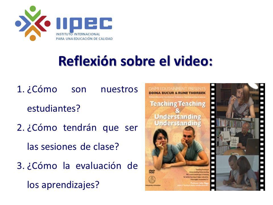 INSTITUTO INTERNACIONAL PARA UNA EDUCACIÓN DE CALIDAD Reflexión sobre el video: 1.¿Cómo son nuestros estudiantes? 2.¿Cómo tendrán que ser las sesiones