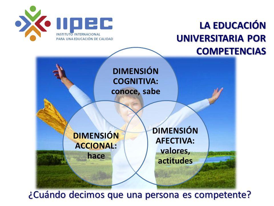 LA EDUCACIÓN UNIVERSITARIA POR COMPETENCIAS INSTITUTO INTERNACIONAL PARA UNA EDUCACIÓN DE CALIDAD ¿Cuándo decimos que una persona es competente? DIMEN