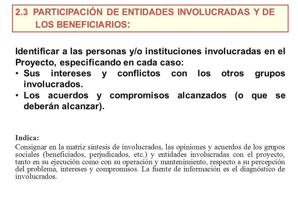 Identificar a las personas y/o instituciones involucradas en el Proyecto, especificando en cada caso: Sus intereses y conflictos con los otros grupos involucrados.